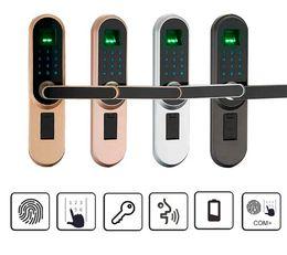 Contraseñas claves online-Cerradura de la manija Cerraduras electrónicas Cilindro inteligente Puerta Cerradura Puerta de entrada Cerradura inteligente Huella dactilar Contraseña con clave Smar