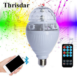 Wholesale Wholesale Dj Speakers - Wholesale- Thrisdar E27 Magic Ball Bluetooth LED Stage Lamp Disco DJ Party Stage Light Bluetooth Speaker Music Playing Bulb With Controller