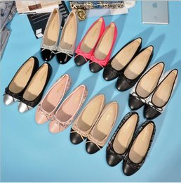 Wholesale women ballerina - Classic style Beige Black Ballerina Flats Lambskin Women Loafers Six Colors Size 34-40 With box Lady Ballet Shoes Flats loafers With Bowtie