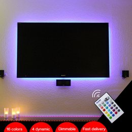 "Wholesale Tv 55 Led - BASON USB Powered RGB LED TV   Monitor Backlighting LED mood Light for 32' 40' 43"" 48"" 50"" 55"" 60"" TV with IR Remote Controller"