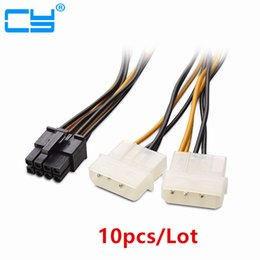 Molex кабели онлайн-10pcs 6 inch 2 x Molex 4 pin to 8-Pin PCI Express Video Card Pci-e ATX PSU Power Converter Cable - Molex to Pcie 8 pin Adapter