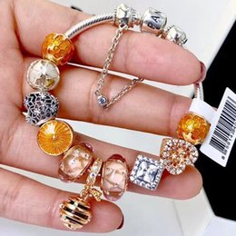 Wholesale Original Agate - Pandoras luxury shine honeybee sunshine ray ALE rose gold plated charm bracelets 925 sterling silver jewelry with original package box