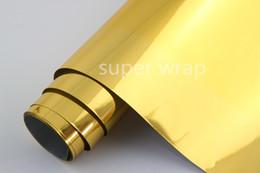 Wholesale mirror gold vinyl wrap - 1.52*18m PVC Gold Chrome Mirror Wrapping Film Car Color Changing Vinyl Sticker Film