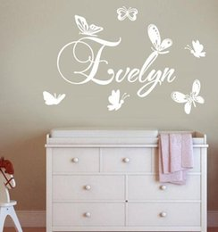 Wholesale Wall Decals Custom Name - Personalized Children Name Butterflies Wall Sticker Vinyl Wall Mural Kids Bedroom Art Decor Removable Custom Wall Decals