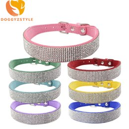 Wholesale Large Purple Rhinestones - Bling Rhinestone Pet Dog Collar Adjustable Buckle Necklace For Small Large Dogs Double Diamante Chihuahua Supplies DOGGYZSTYLE