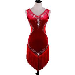 Wholesale Nylon Spandex Underwear Women - Velvet Latin Dance Dress Costumes Women Salsa Tango D368 Red with Bra Cup Underwear Tassels Rhinestones