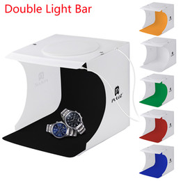 Tentes de chambre en Ligne-Mini boîte à lumière Double LED Salle de lumière Photo Studio Photographie Éclairage Tir tente de tir Toile de fond Cube Boîte Photo Studio Dropship