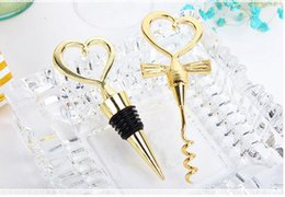 Wholesale opener set - Cheers To A Great Combination Gold Wine Set Bottle Opener Cork Screw and Stopper Wedding Souvenirs H2908