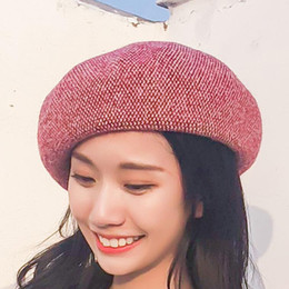 womens fashion beret Coupons - womens beret small fresh artistic line painter cap web celebrity the same warm knit cap New wool beret
