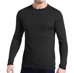Wholesale Long Underwear Men Shirt - Men's 100% Pure Merino Wool Male Lightweight Base Layer Long Sleeves Warm Winter Spring Breathable Shirt Thermal Underwear Tops