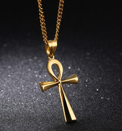 Wholesale blessing design - Ankh Cross Pendant Men 's Necklace Steel   Black   Gold Color Stainless Steel Smooth Design Blessing Religious Gift