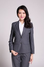 Wholesale Dark Grey Work Pants - Plus Size S-3XL Dark Gray Women Pants Suits Slim Work Wear Single Breasted Formal Office Ladies Suits Conjuntos Trajes Pantalon