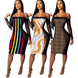 d0c15871724 New Winter Casual dresses Maxi Bandage Bodycon Dress Mesh perspective  printed long sleeve Party dress plus size women sexy club dress