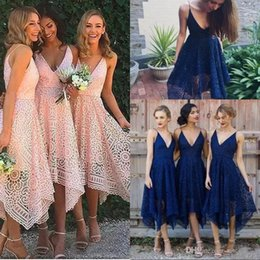 Wholesale Coral Tea Dresses - Navy Blue Bridesmaid Dresses 2018 Elegant Tea Length Blush Pink Lace Irregular Hem V Neck Maid of Honor Country Wedding Guest Gowns