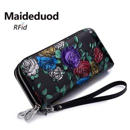 Wholesale large wallet clutch organizer - Hot Sale New Fashion Purse Ms. Ethnic Style Leather Long Clutch Clutch Zipper Large Capacity Cardholder Cardholder Wallet
