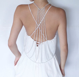 Wholesale Pearl Clasps - Sexy Spring Pearls Adorned Bridal Jewelry Body Chain Jewerly European Fashion Ladies Summer Body Chain Female Jewelry Cheap Sale
