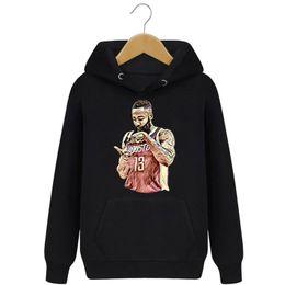 Wholesale Black Brown Cashmere Sweater - new basketball star Curley less beard hooded hemp cotton sweater Men's Hoodies men's plus cashmere coat wholesale