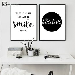 Wholesale Simple Abstract Paintings Canvas - NICOLESHENTING Smile Simple Quote Motivational Poster Prints Black White Wall Art Canvas Painting Education Picture Home Decor