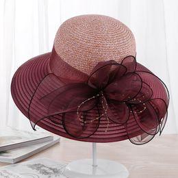 Wholesale wedding hats for men - 2018 new Large Wide Brim Hats Organza Flower Sun Hats Ladies Kentucky Derby Wedding Party Dress Floppy Summer for Women