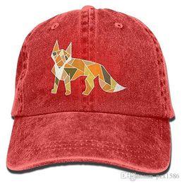 2019 raposa bonés Pzx @ Boné de Beisebol para Homens Mulheres, Polygonal Fox Mens Algodão Ajustável Denim Cap Chapéu Multi-cor opcional raposa bonés barato