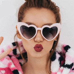 Wholesale Party Shade Glasses - Love Heart Sunglasses Women Brand Design Retro Black White Eyewear Vintage Party Sun Glasses Superstar Shades 2018 New