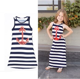 Wholesale family christmas outfits - 2016 Parent-child Family Dress Blue and white stripes boat anchor dress Girls baby outfit vest dress 100cm-140cm C543