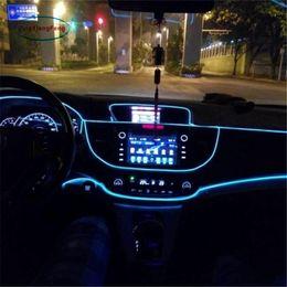 Lámparas de tira para 12v online-1 unids 1 m Flexible EL Wire Noen Luz 10 colores DC 12V Car Interior LED tira de luz Auto DIY lámpara de la atmósfera
