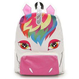 a5c9361ab839 Unicorn Backpacks 28 9 36cm Bigs Kids Students Gilrs Canvas Unicorn Printed  School Backpack Girls Pink Cartoon Unicorn Bags LA859