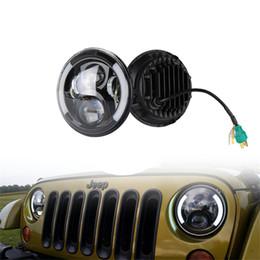 Phares de jeep en Ligne-Phares ronds 7inch 60W LED Hi / Lo Beam + phare multifonctions Angel Eyes pour Jeep Wrangler JEEP CJ JK TJ avec DRL noir / chrome