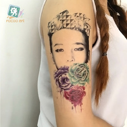 Wholesale Hand Tattoo Gun - 19*12cm Temporary fake tattoos Waterproof tattoo stickers body art Painting for party decoration etc mixed vintage gun lady flower