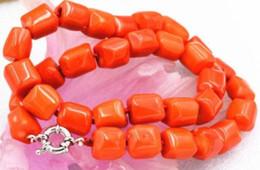 pietre arancioni Sconti Charming! Sfaccettature arancio Cilindro Collana pietra corallo 17