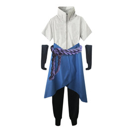 Pantaloni cosplay naruto online-Costume Cosplay Naruto Unisex Konoha Uchiha Sasuke 3a / 4a generazione (top + pantaloni + grembiule + Corda + coprioggetto)