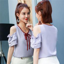 be1b08dd7d9f65 New Summer Women s Tops and Blouses Fashion Chiffon Shirt Korean Pure Color  Shirts Crew Neck Missing Shoulder Short Sleeve Blouse discount korean  chiffon ...