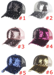 75affd559b377 INS Lentejuelas Sombreros de Las Mujeres Sombreros de Béisbol Ajustable Big  Girls Verano Bling Shinning Gorra de Béisbol de Malla Mujer Partido Glitter  Club ...