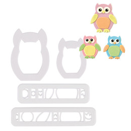 Wholesale cute fondant cookies - Cute 4Pcs Owl Typed Cake Cookies Cutter Fondant Biscuit Sugarcraft Decor Mould Set free shipping
