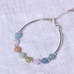 Wholesale Sterling Silver Beaded Bracelets - Charm S925 pure silver sweet hand string lovely candy color single - ring natural Morgan stone bracelet gift - hand morganite wholesale
