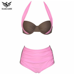 Wholesale Plus Size Swimwear Free Shipping - 2018 New Sexy Bikinis Women Swimsuit High Waisted Bathing Suits Swim Halter Push Up Bikini Set Plus Size Swimwear 2XL free shipping