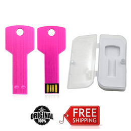 Wholesale Retail Usb Flash Drive - Pink Key Brand NEW USB Flash Drives 16GB 32GB 64GB Metal USB 2.0 Pen Drive With Retail Box EU024