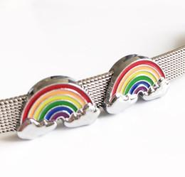 accessori del collare del cane diy Sconti 10pcs 8mm fascini dello scorrevole del Rainbow dello smalto borda gli accessori di DIY misura i braccialetti delle cinghie del collare del cane dell'animale domestico di 8mm