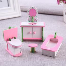 accessoires de maison rouge Promotion En bois Miniature Dollhouse Simulation Mobilier Ensemble Enfants Jouets Éducatifs Enfants Enfant Pretend Play Toy