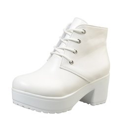 white short women boots Coupons - New Autumn Winter Women Boots High Quality Solid Lace-up European Ladies shoes Oxford Leather Fashion Short Boots