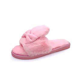 024e6e58b62f 2018 Winter Women Home Slippers with Faux Fur Warm Shoes Woman Slip on Flats  Cute Rabbit Bowtie Female Slides Plus Size 41