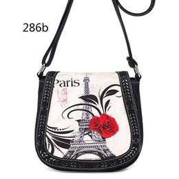 Wholesale Handbags Paris - hot Hollow Out Saddle Women Messenger Bag Paris Tower Print Ladies Handbag Leather Small Female Shoulder Bag Crossbody