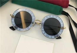 2020 lunita gafas de sol 2017 Nueva alta calidad 0113 marca diseñador Gucci GG0113S de lujo para mujer gafas de sol de las mujeres gafas de sol 0113S gafas de sol redondas gafas de sol mujer lunette rebajas lunita gafas de sol