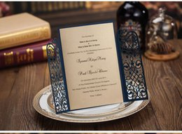 Wholesale Invitations Wedding Invite Cards - Hot Vintage Navy Blue Laser Cut Wed Invitation Party Wedding Invitations Day Evening Invite Card Customized Size Printing