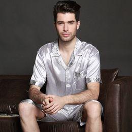 65f6571175 2018 new Men Satin Silk Pyjamas Set of T-shirt   Shorts Male Sleepwear  Leisure Home Clothing Plus Size
