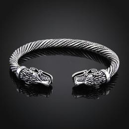 Bijoux indiens en Ligne-Viking Bracelet Hommes Bracelet Manchette Bracelets Pour Femmes Bracelets Adolescent Loup Tête Bracelet Indien Bijoux Accessoires de Mode