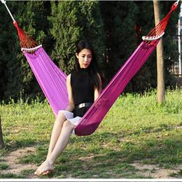 Tela di canapa doppia online-YINGTOUMAN Hammock Canvas Hammock Double Hammocks Outdoor Garden Camping Appeso Bed Spreader Bar Sacco a pelo Swing Seat