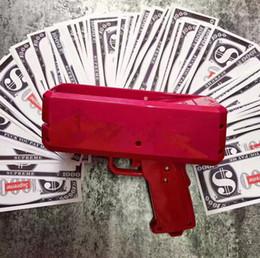 Wholesale red toy gun - 2018 Newest Cash Cannon Money Gun Decompression Fashion Toy Make It Rain Money Gun Red Gift Toys