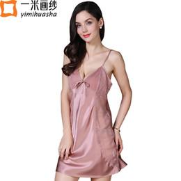 Wholesale Sexy Winter Nightgowns - new winter sexy women's nightgown real silk satin lingerie sleepwear night dress homewear sleeveless Nighties Lace